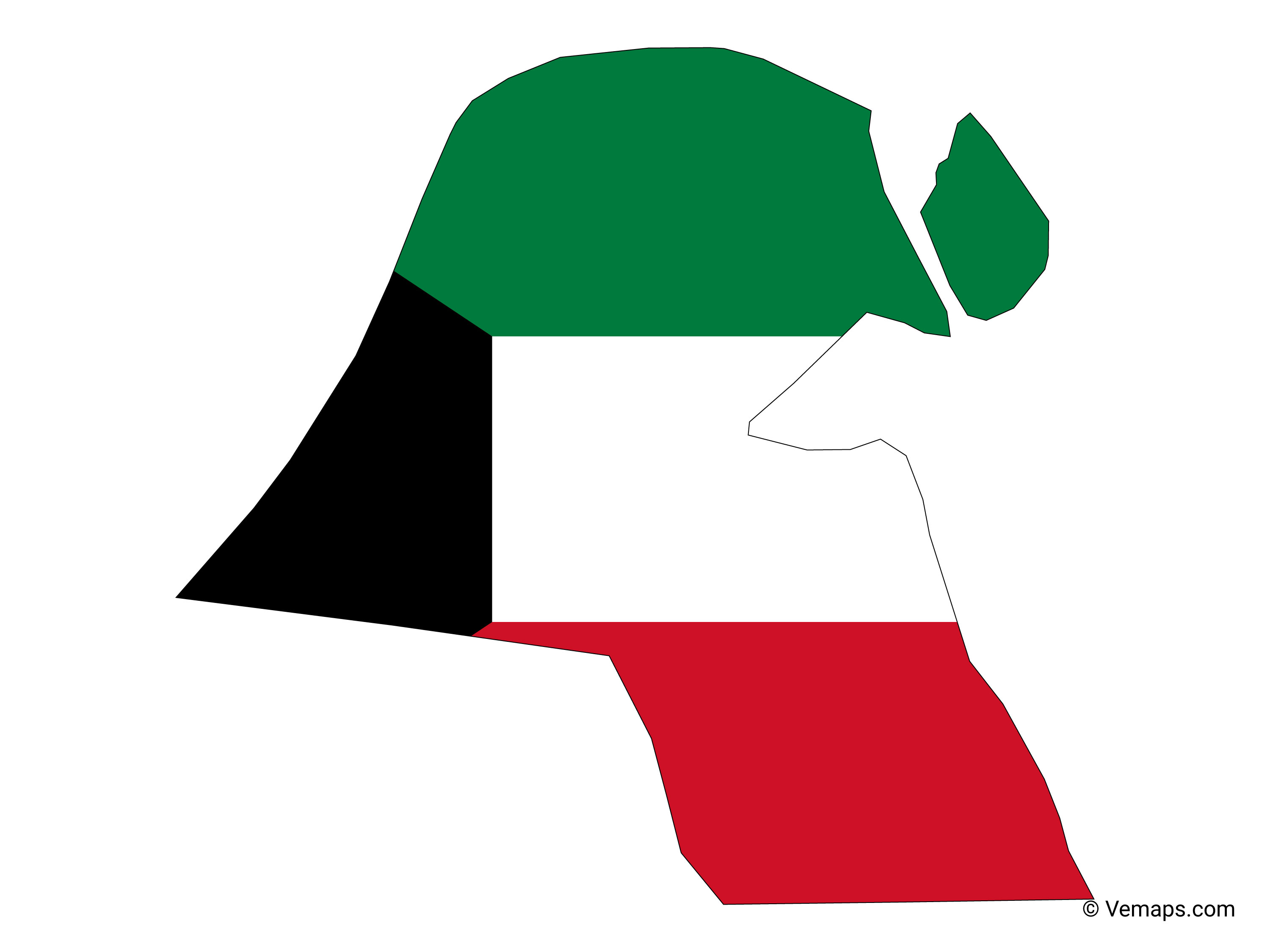 Flag Map of Kuwait | Free Vector Maps