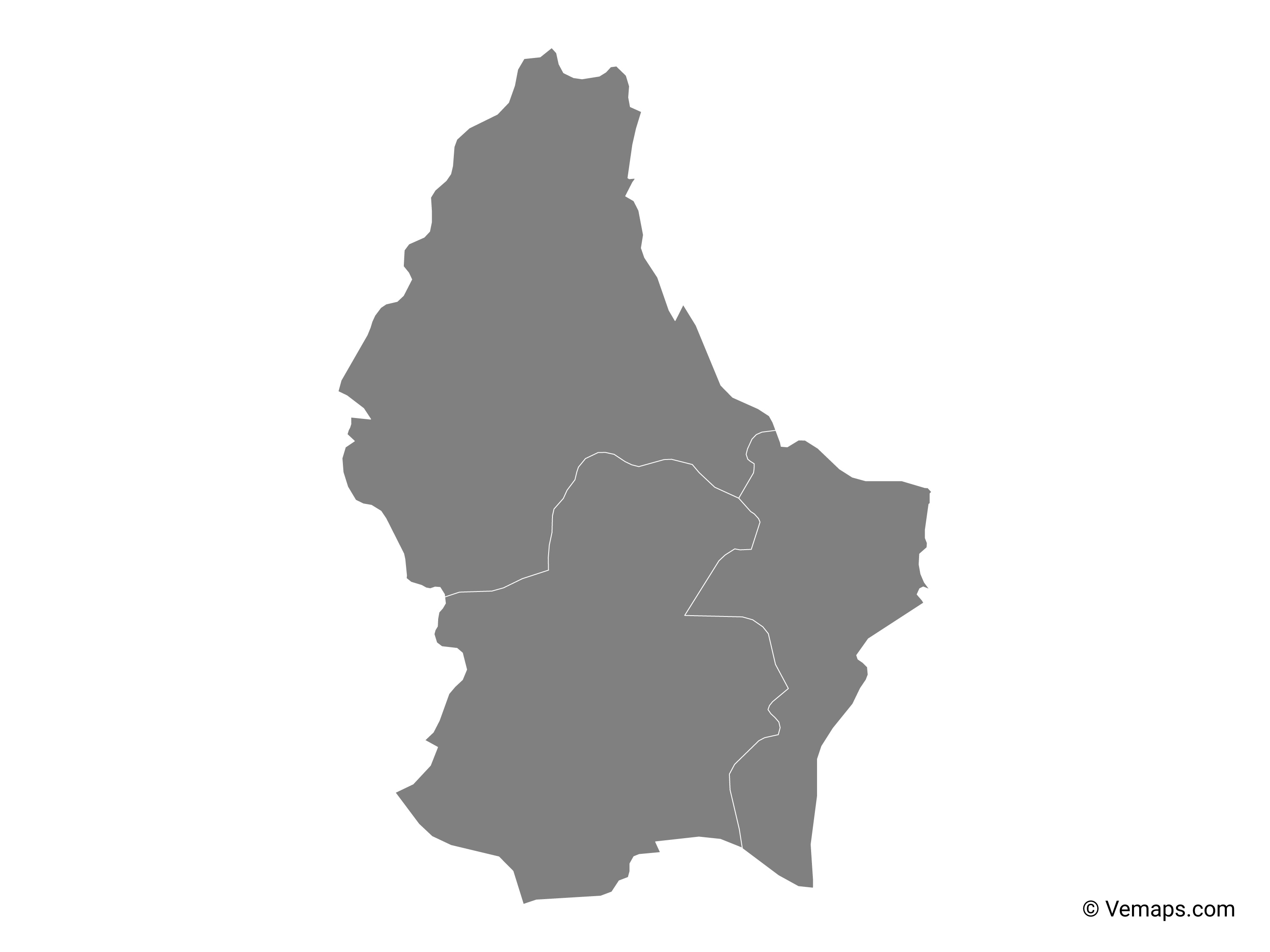 Grey Map of Luxembourg with Districts | Free Vector Maps