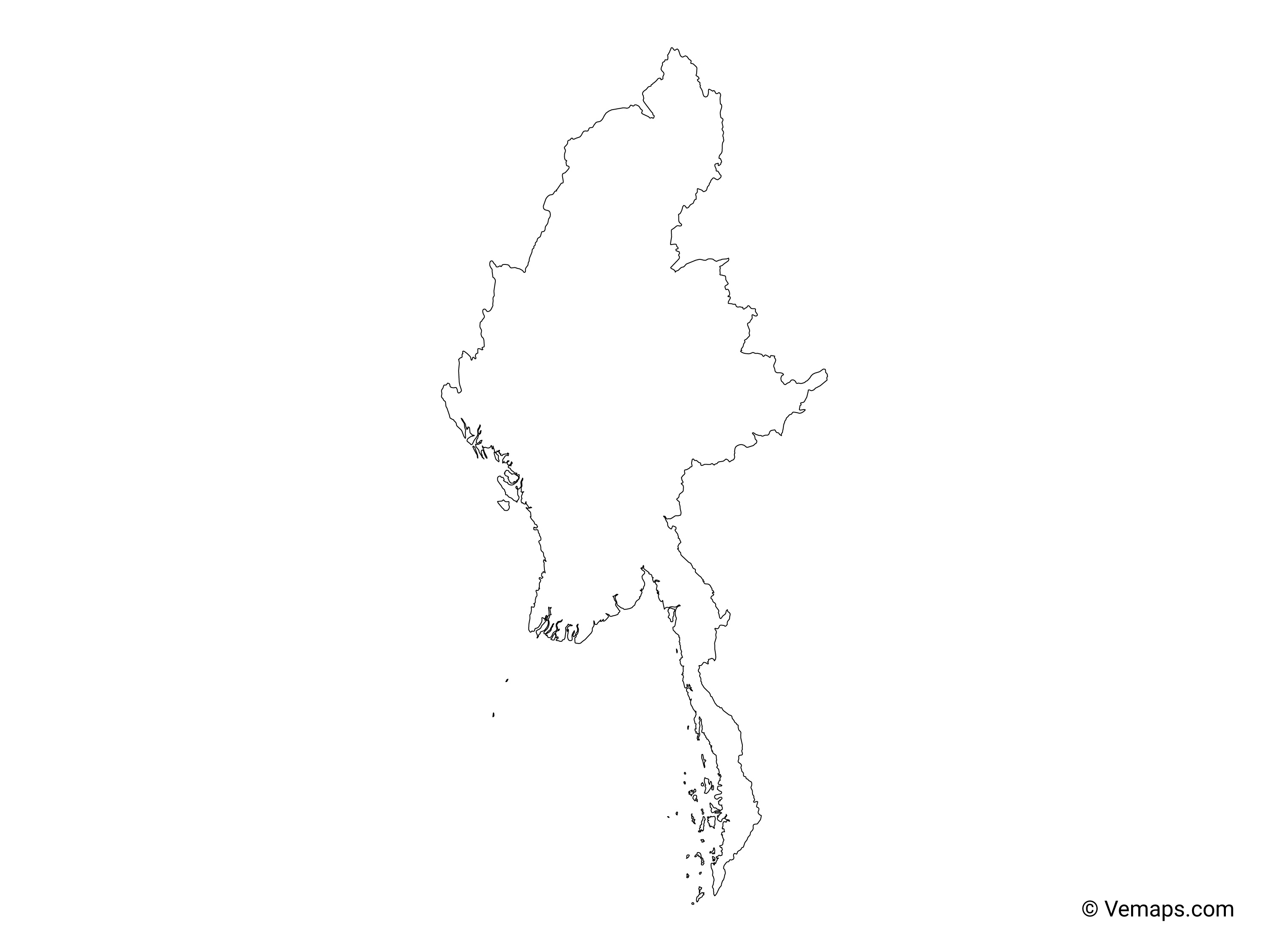 Outline Map Of Myanmar Free Vector Maps
