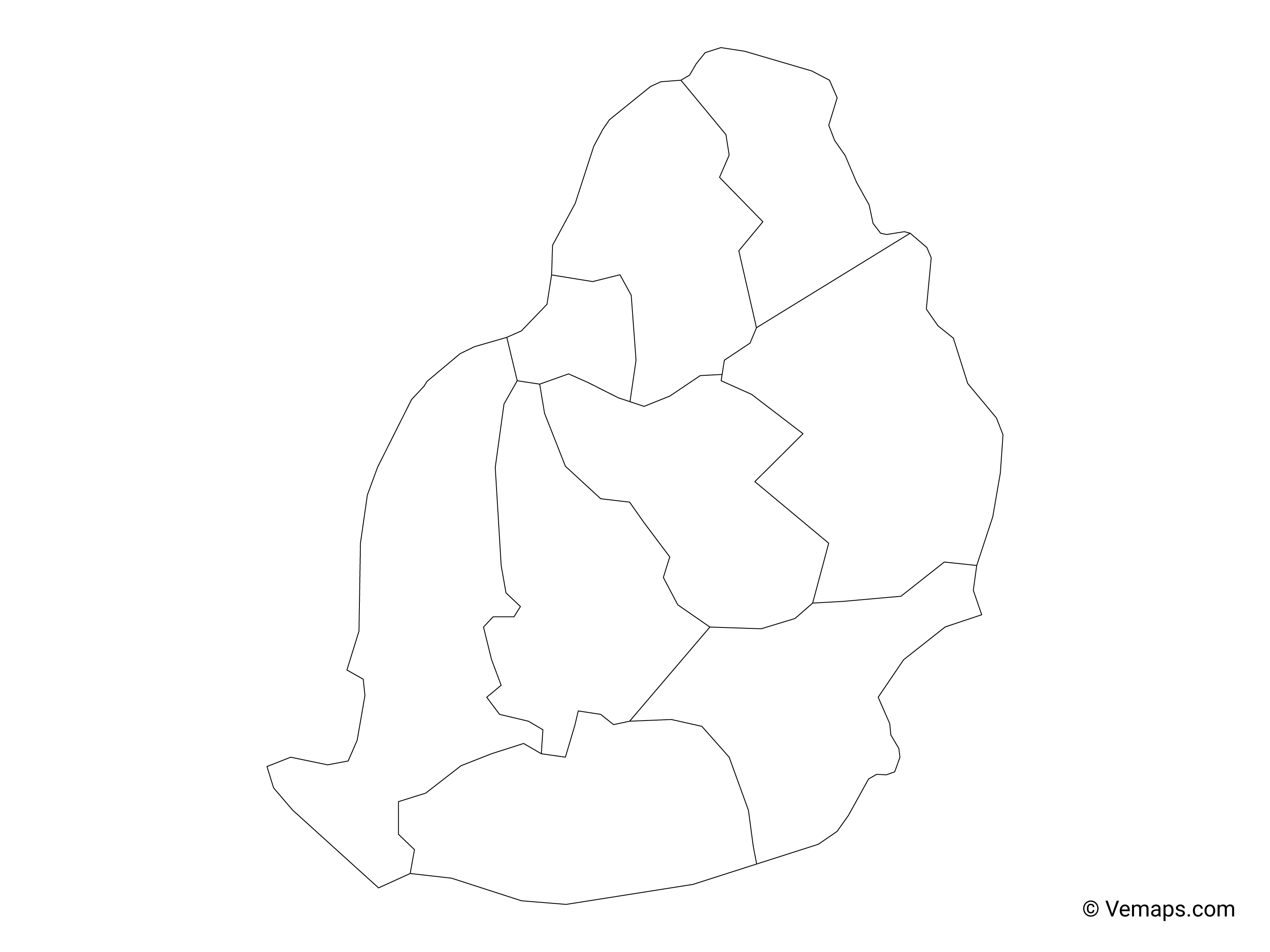 Outline Map of Mauritius with Districts | Free Vector Maps
