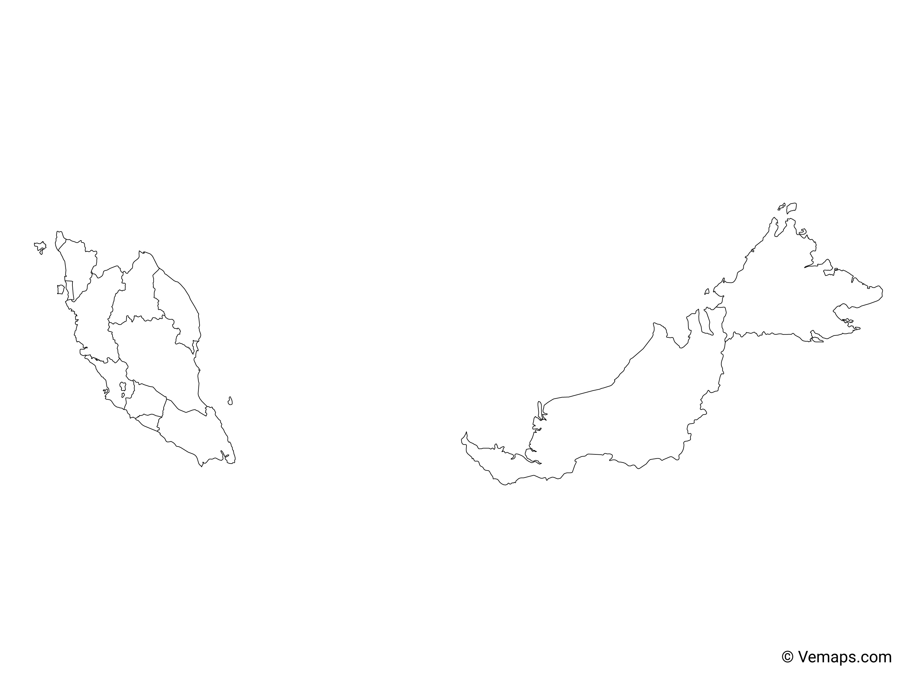 Picture of: Outline Map Of Malaysia With States And Federal Territories Free Vector Maps