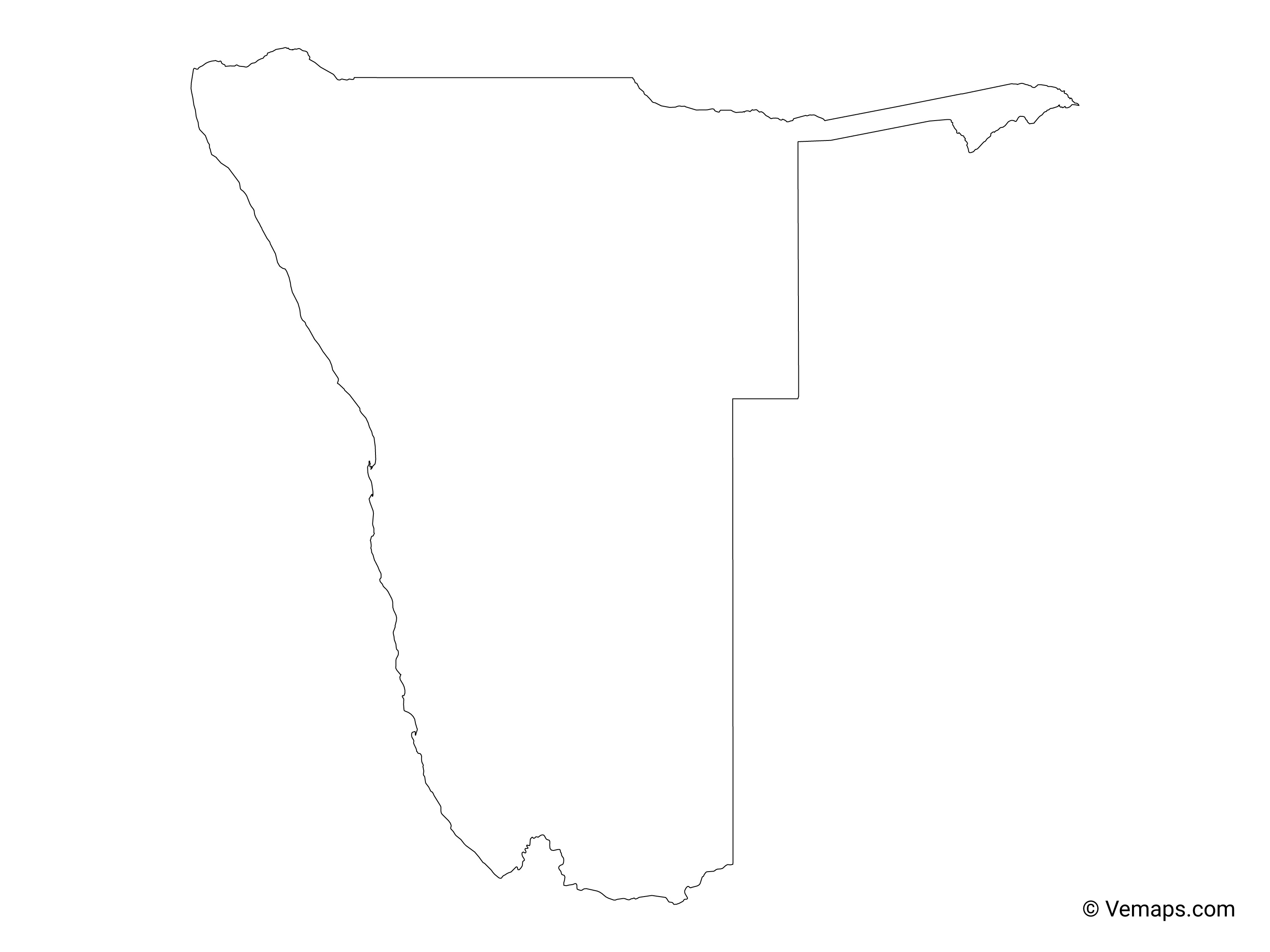 Outline Map of Namibia | Free Vector Maps