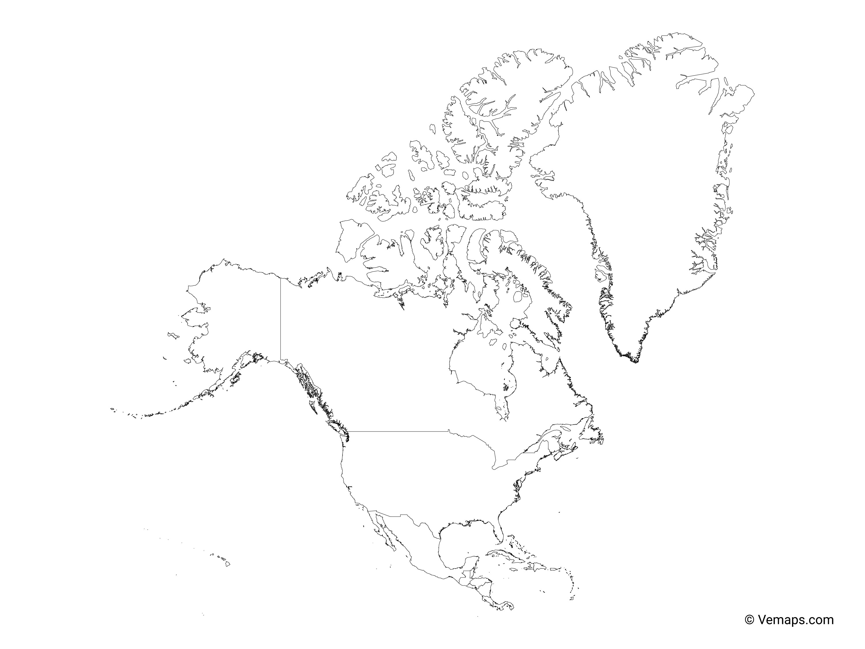Picture of: Outline Map Of North America With Countries Free Vector Maps