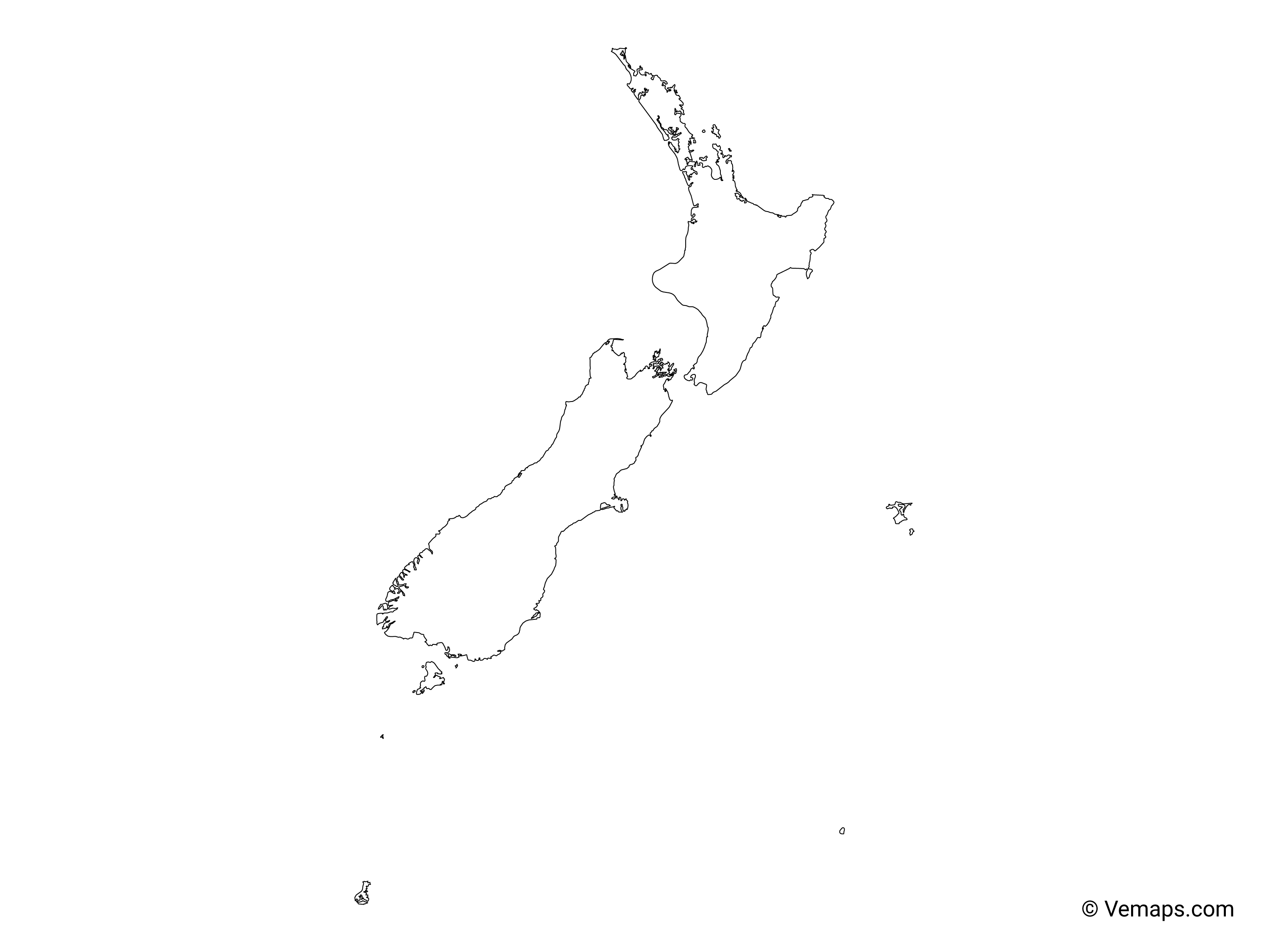 New Zealand Map Outline Outline Map of New Zealand | Free Vector Maps