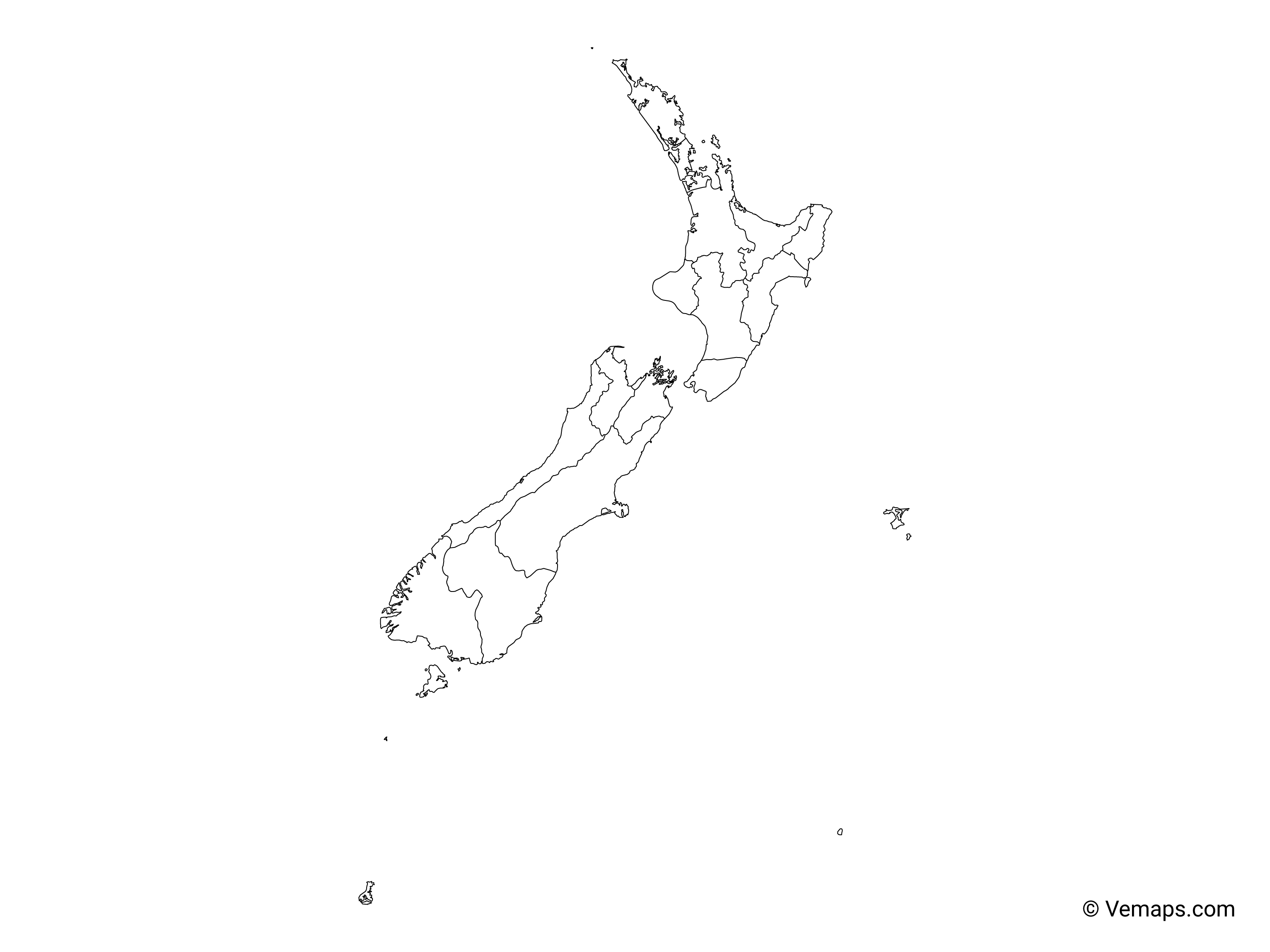 Outline Map Of New Zealand With Regions Free Vector Maps