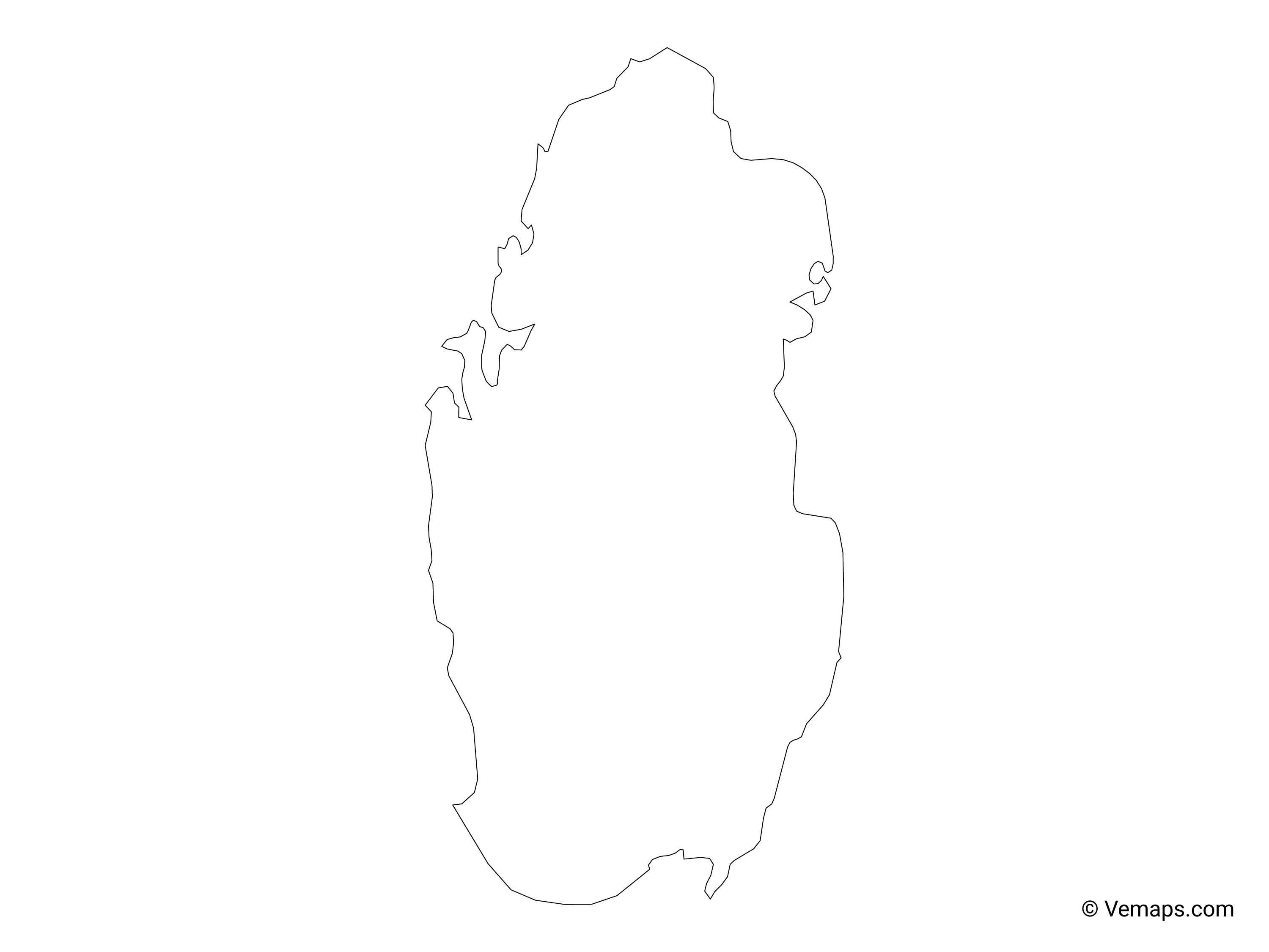 Outline Map of Qatar | Free Vector Maps