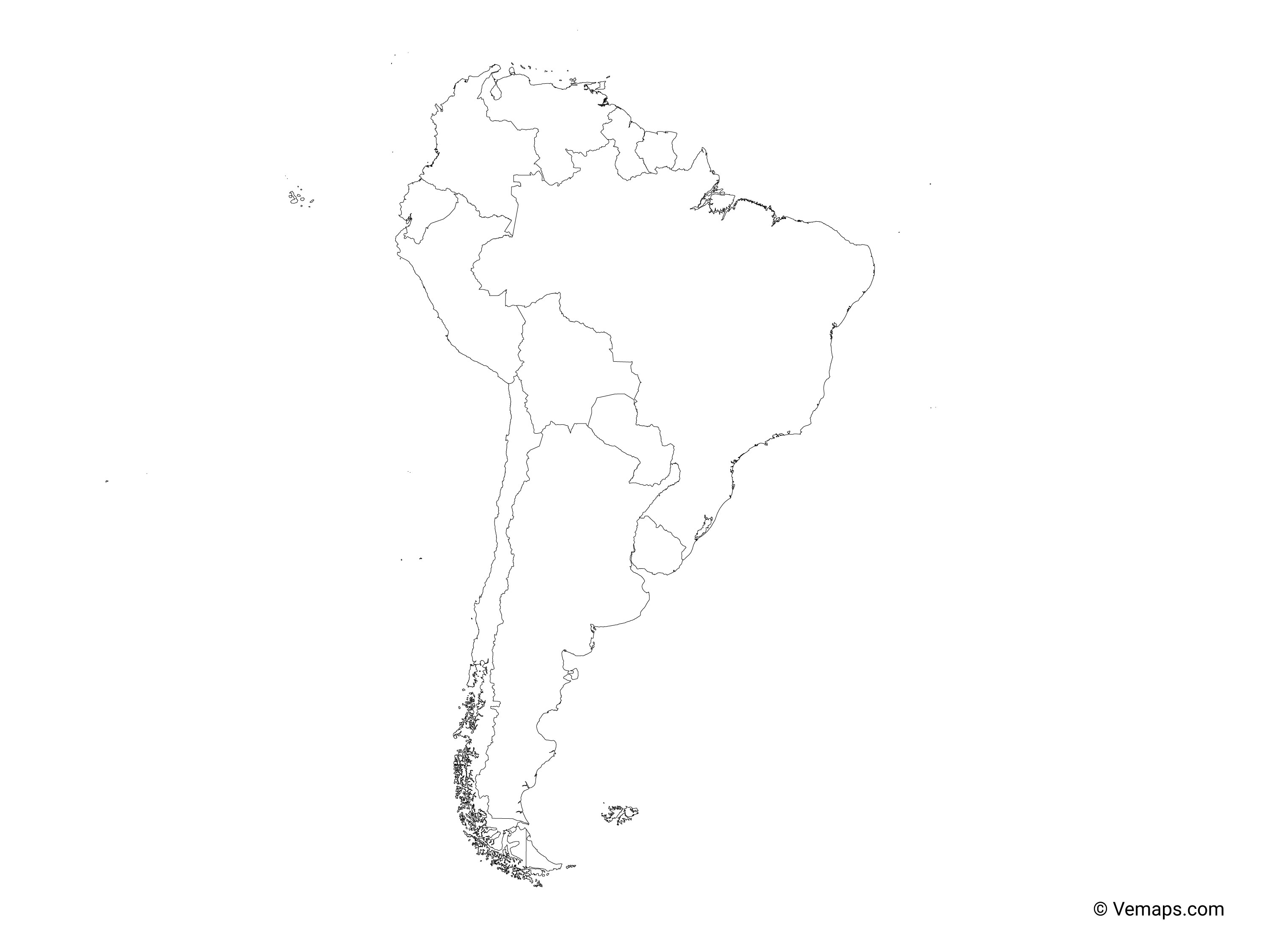 Outline Map of South America with Countries | Free Vector Maps