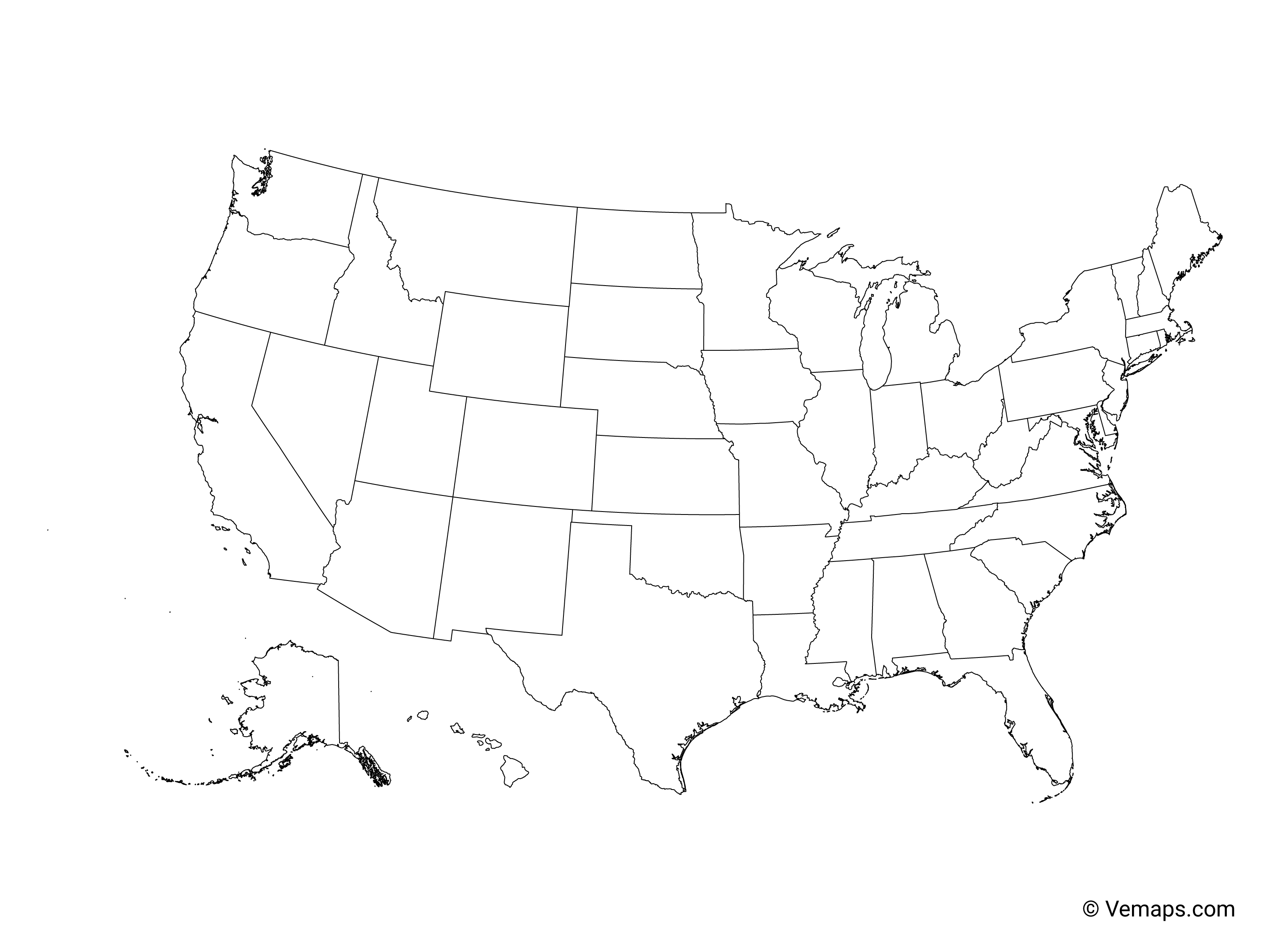 Outline Map of the United States with States | Free Vector Maps