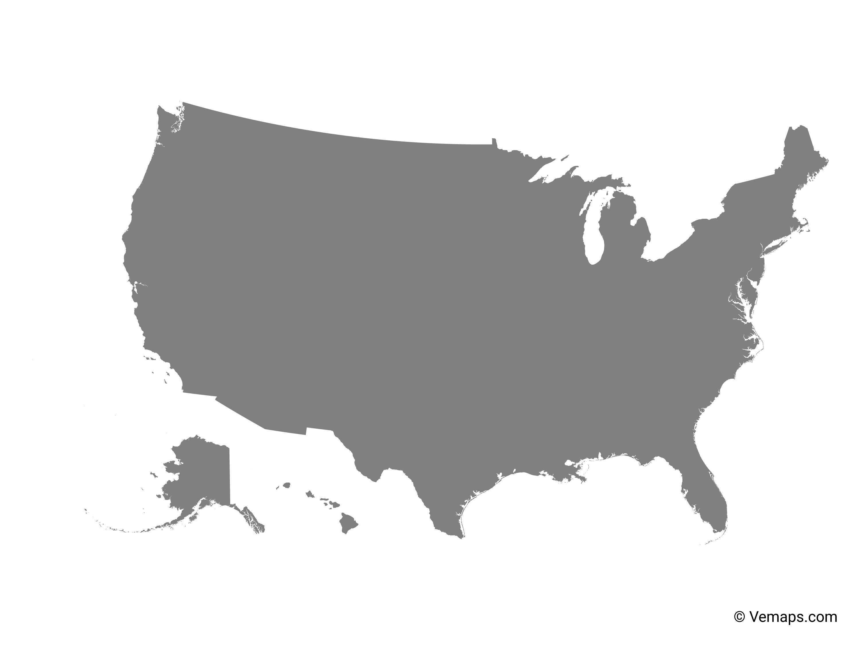 Grey Map of United States   Free Vector Maps