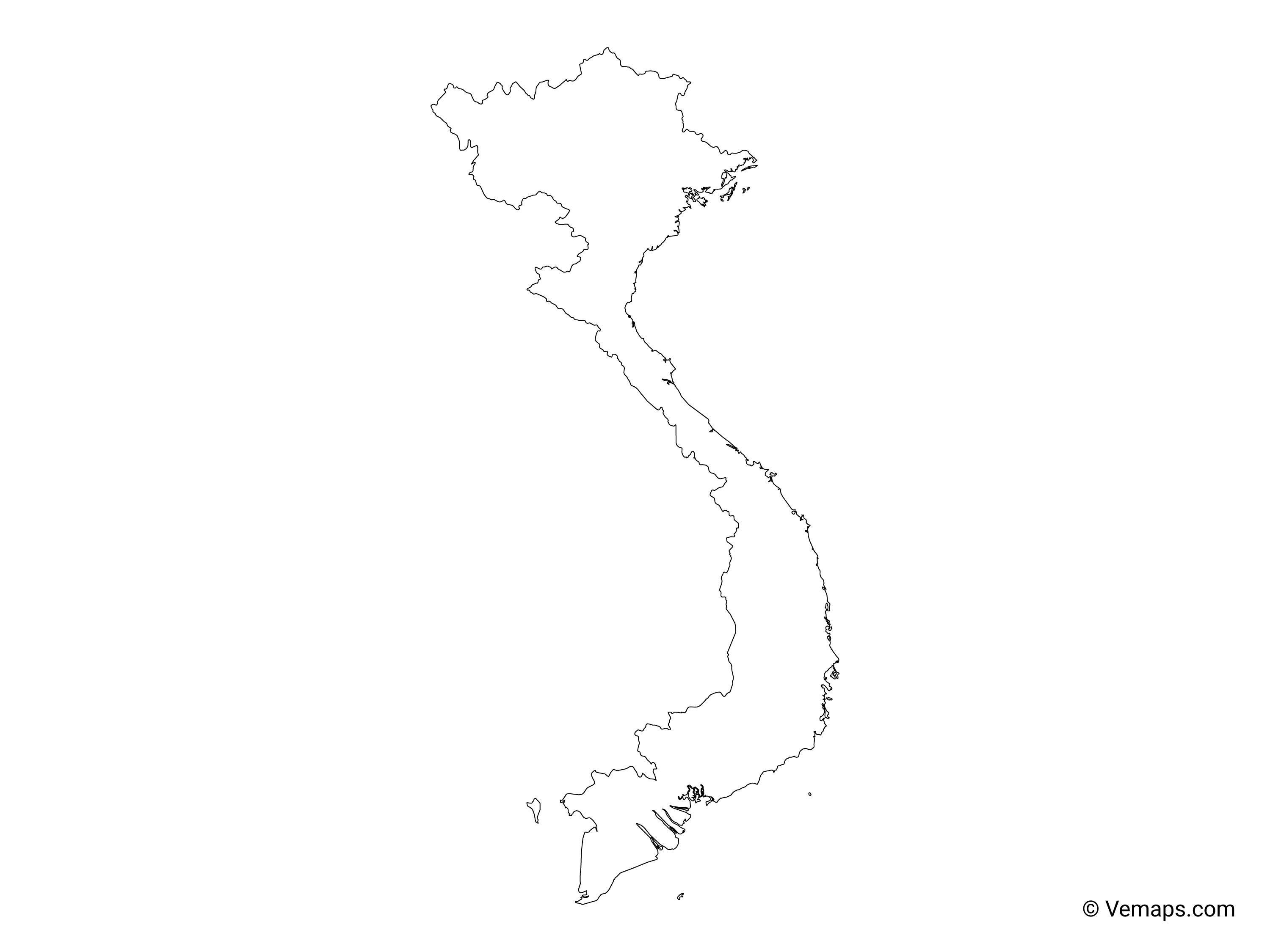 Outline Map of Vietnam | Free Vector Maps