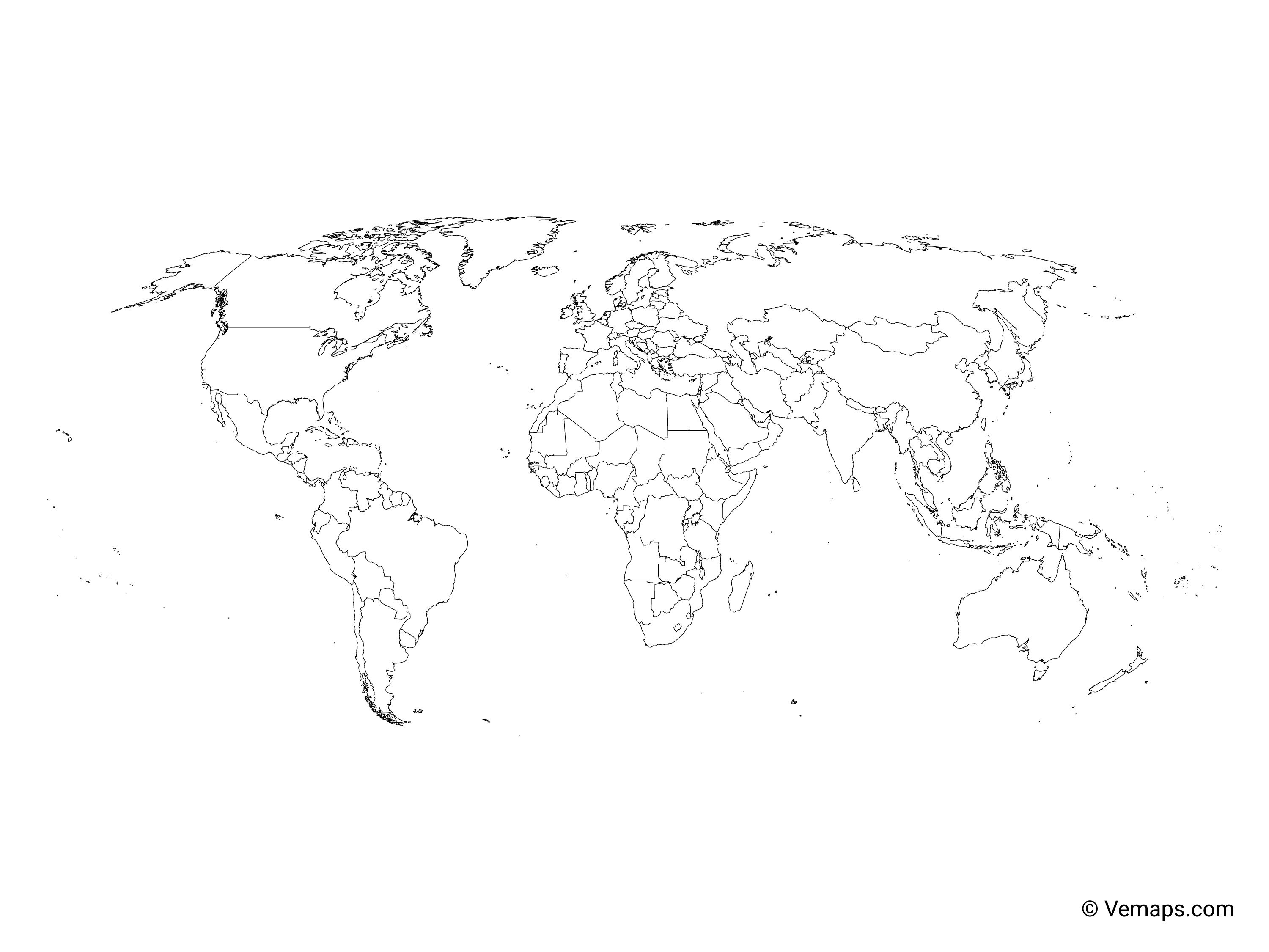 Picture of: Outline Map Of The World With Countries Robinson Projection Free Vector Maps