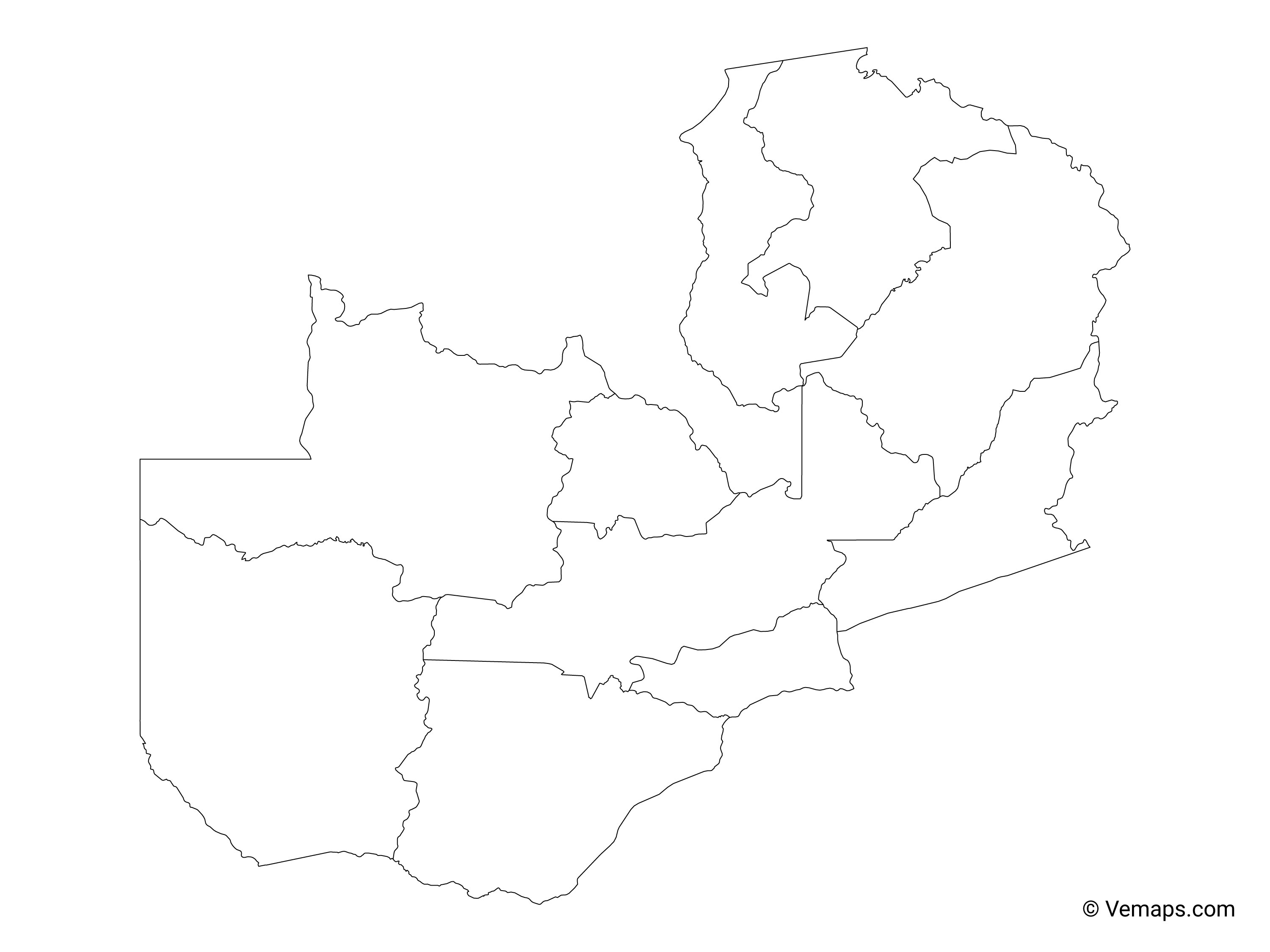 Outline Map of Zambia with Provinces   Free Vector Maps