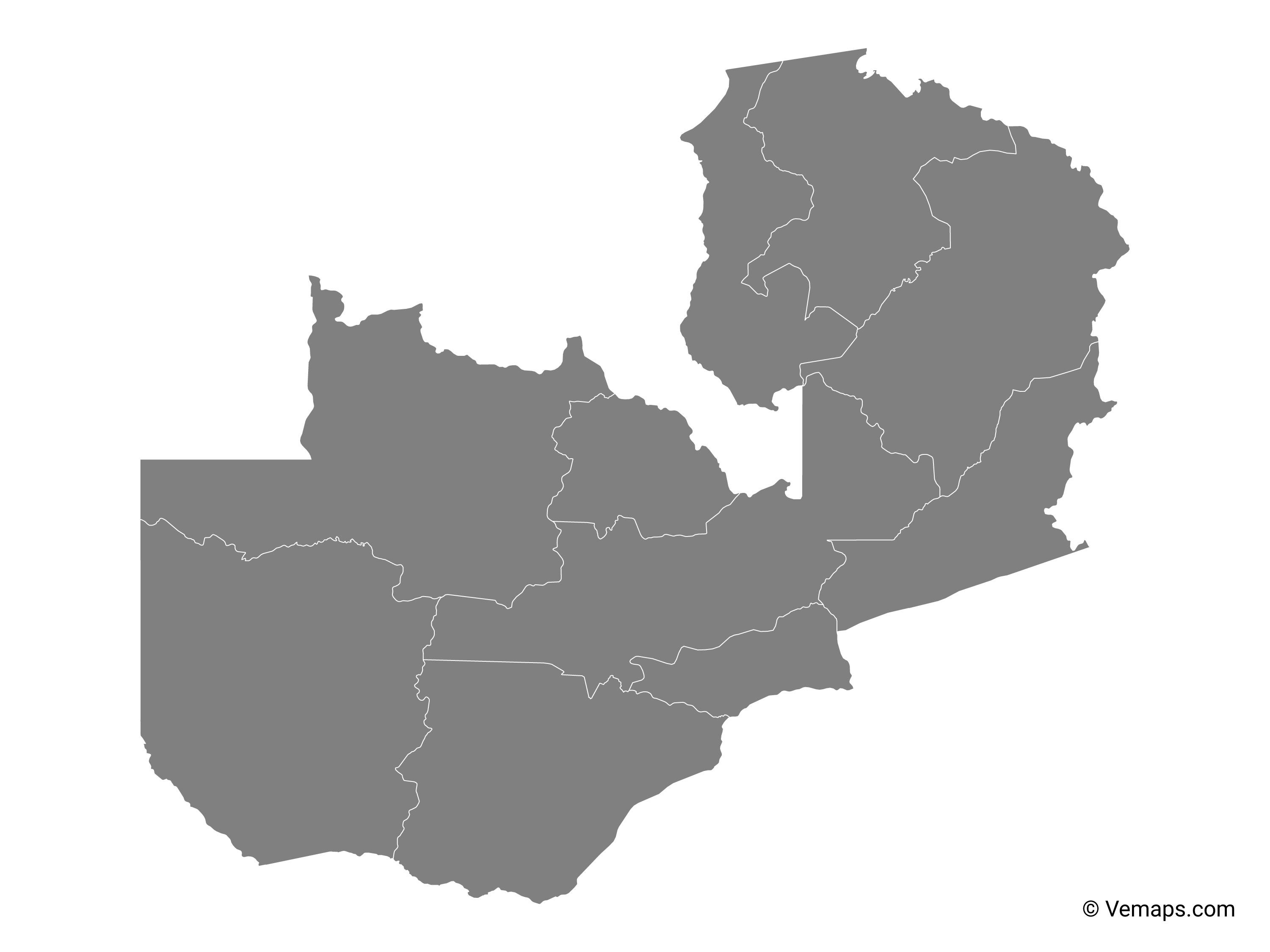 Zambian Map Vector.Grey Map Of Zambia With Provinces Free Vector Maps