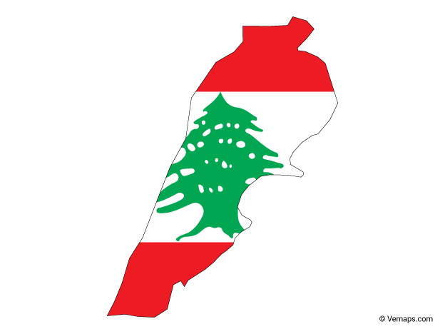 Flag Map of Lebanon