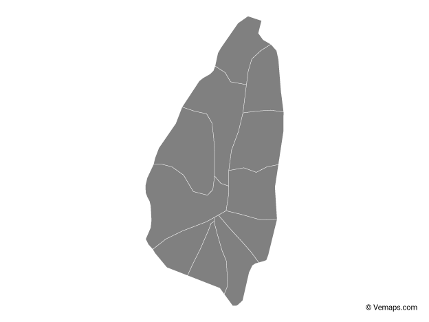 Grey Map of Saint Lucia with Quarters