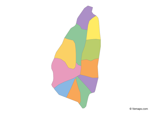 Multicolor Map of Saint Lucia with Quarters