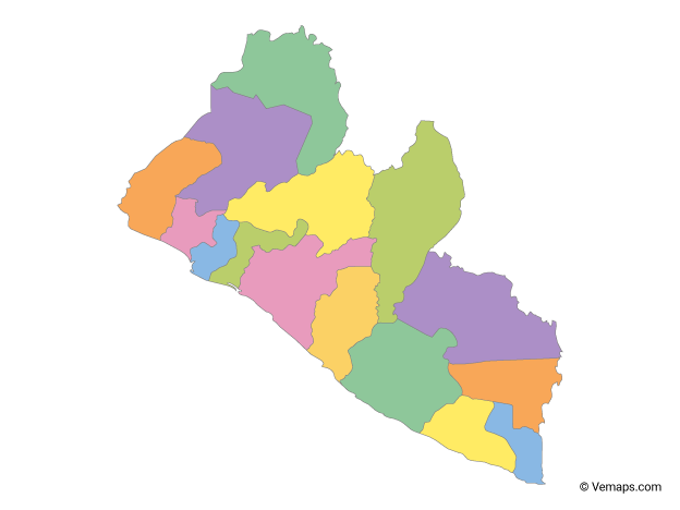 Multicolor Map of Liberia with Counties | Free Vector Maps