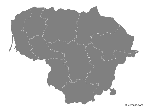 Grey Map of Lithuania with Counties