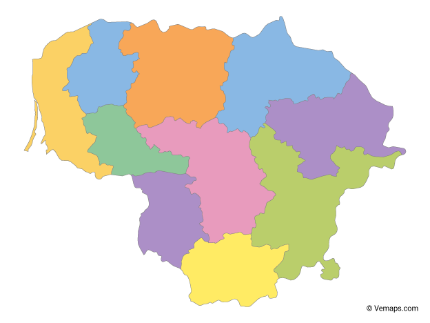 Multicolor Map of Lithuania with Counties
