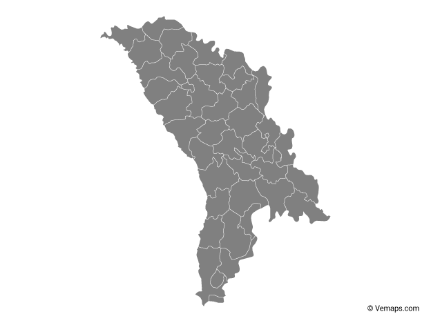 Grey Map of Moldova with Districts
