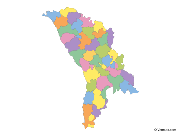 Multicolor Map of Moldova with Districts