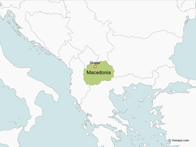 Map of Macedonia with Neighbouring Countries