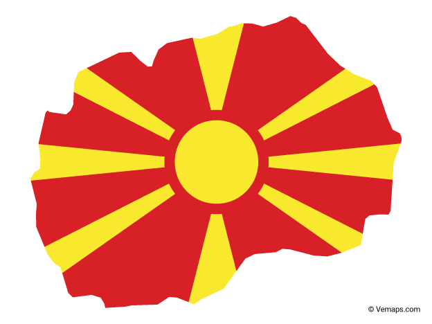 Flag Map of Macedonia