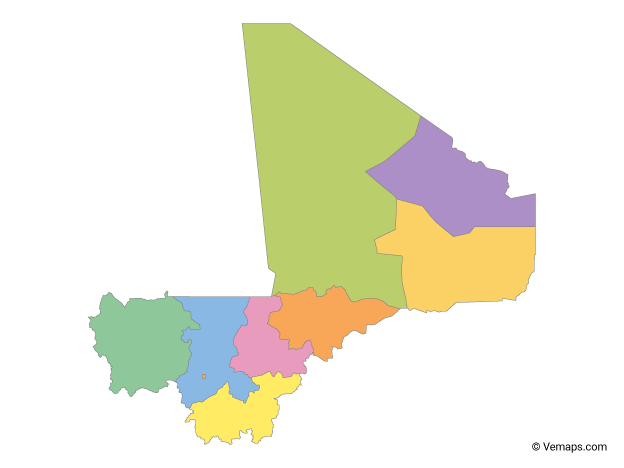 Multicolor Map of Mali with Regions