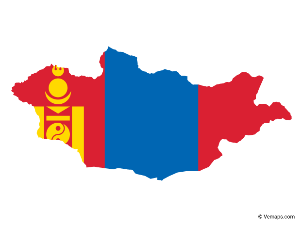 Flag Map of Mongolia