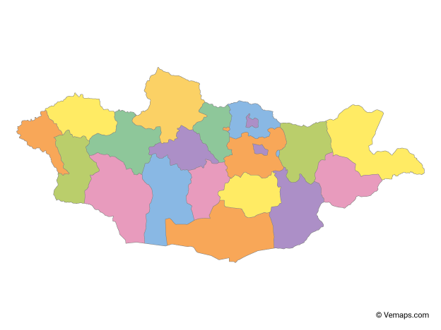 Multicolor Map of Mongolia with Provinces