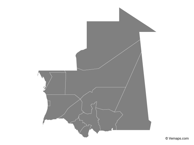 Grey Map of Mauritania with Regions