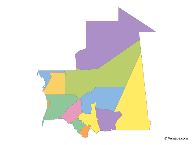 Multicolor Map of Mauritania with Regions