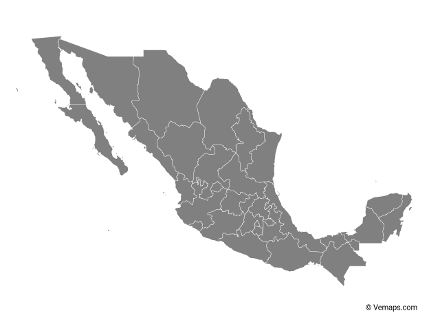 Grey Map of Mexico with States