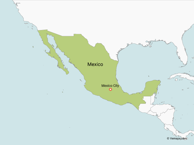 Map of Mexico with Neighbouring Countries