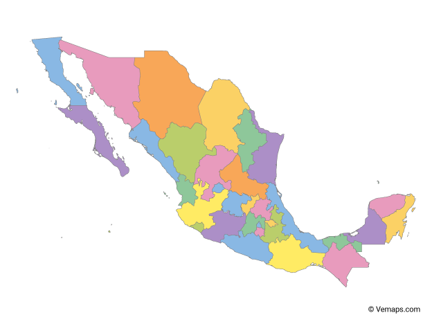 Multicolor Map of Mexico with States