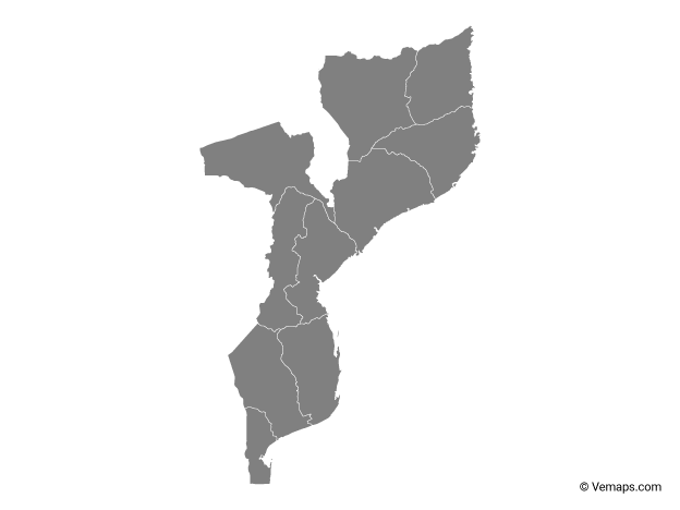 Grey Map of Mozambique with Provinces