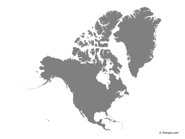 Grey Map of North America