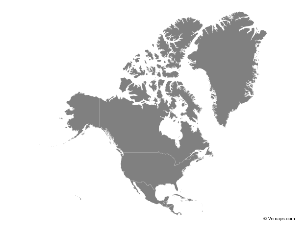 Free Vector Map Of North America.Grey Map Of North America With Countries Free Vector Maps