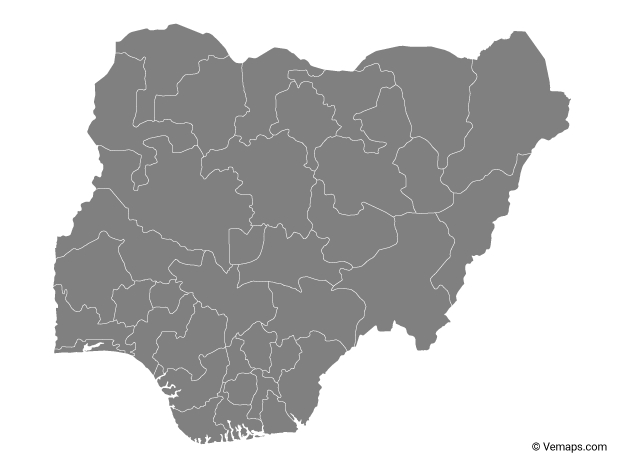Grey Map of Nigeria with States
