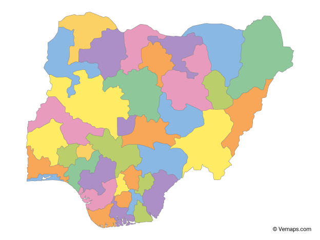 Multicolor Map of Nigeria with States