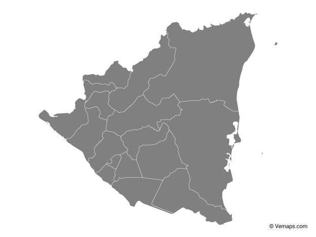 Grey Map of Nicaragua with Departments