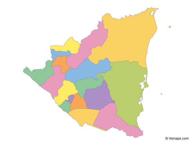 Multicolor Map of Nicaragua with Departments
