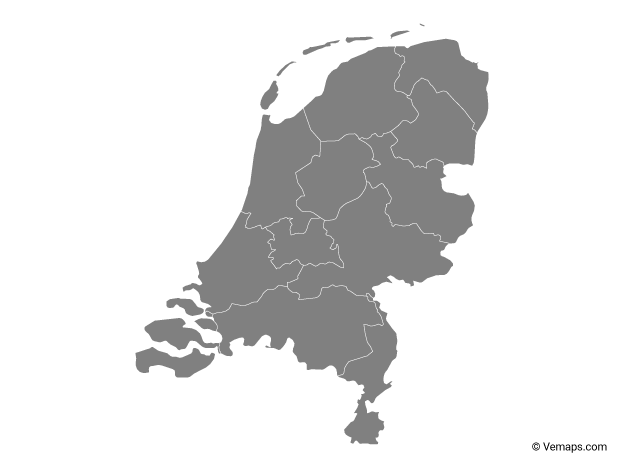 Grey Map of Netherlands with Provinces