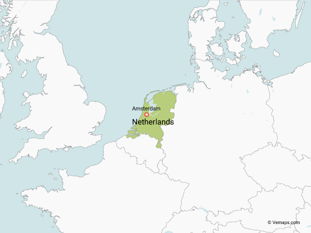Map of the Netherlands with Neighbouring Countries