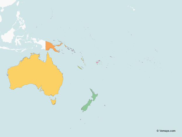 Map of Oceania with multicolor Countries