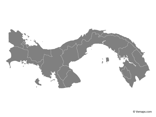 Grey Map of Panama with Provinces