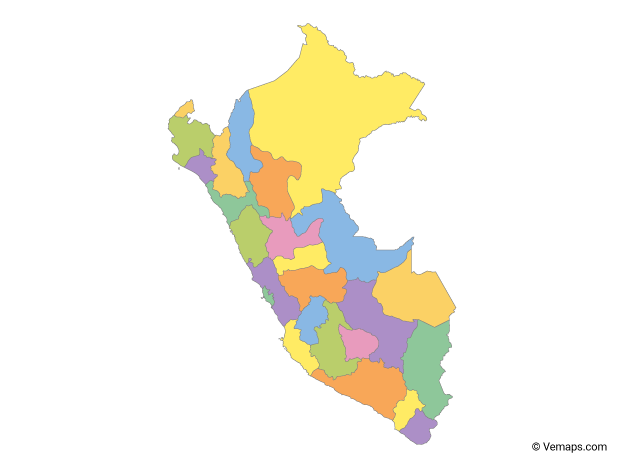 Multicolor Map of Peru with Regions