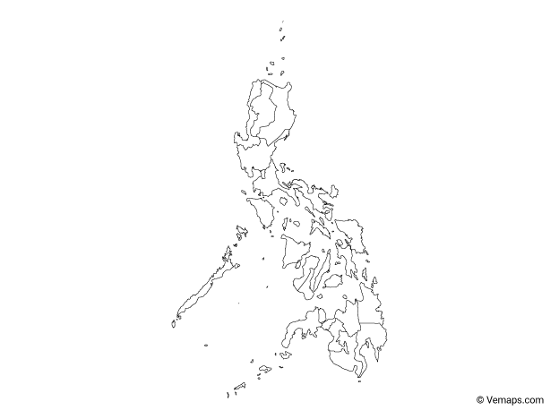 Outline Map of Philippines with Regions