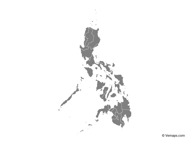 Grey Map of Philippines with Regions