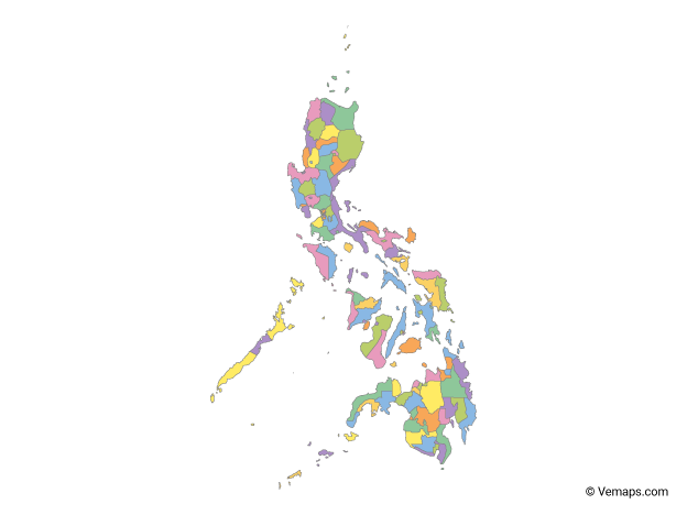 Multicolor Map of Philippines with Regions